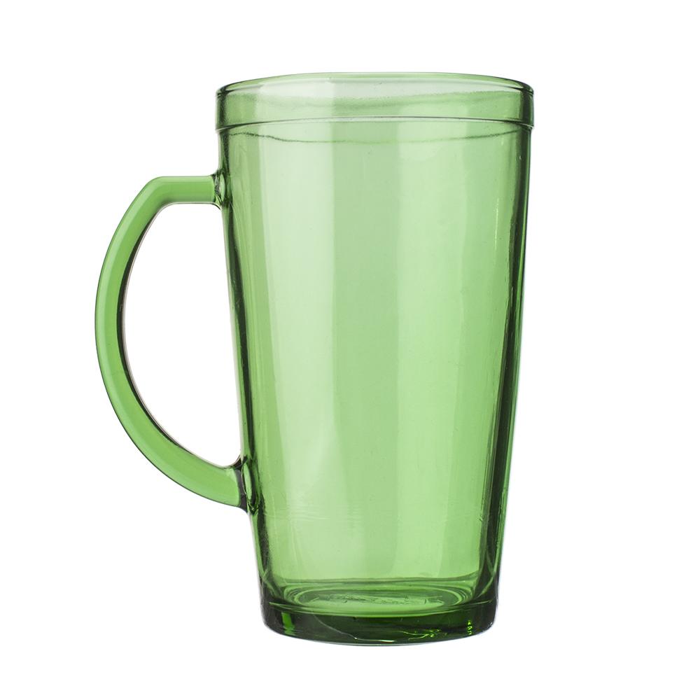 jarra de vidrio verde con asa